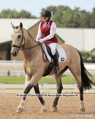 "Gina Dasilva rode ""Fifth Avenue Renmark"" in the Novice 2A dressage riders 60+ age group"