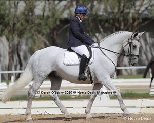 """Winners in the Novice 2C Age Group 50-59 Years, Erin Field and """"Irish Oliver"""" with a score of 66.286%"""