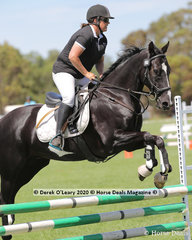 "Karen Catto and ""MSQ Ollie"" in the 65cm Show Jumping age group 40-49 y/o"