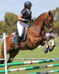 "Tara Lawrey in the 65cm Show Jumping Age Group 30-39 y/o riding ""Simmering"""