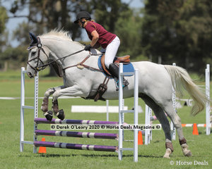 """Debbie Whitworth rode """"Wartrak"""" in the 65cm Show Jumping Age Group 50-59 y/o"""