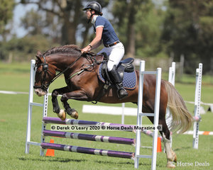 """Lauren Lines riding """"Fluff"""" in the 65cm Show Jumping Age Group 40-49 y/o"""