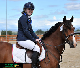 Bred by Hunter Nursing Nannies, 4 year old Woodburys Top Gun has only been broken in for 3 months and competing at his first event in the EvA 45 at Tamworth International Eventing. He is pictured with rider Tameeka Woodbury before their Show Jumping. .