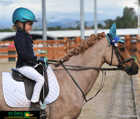 Presenting to the judge for the EvA 45 Show Jumping phase was 7 year old Lucy Nivison and her pony Jerry on Saturday afternoon at the Tamworth International Eventing.