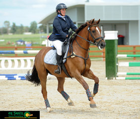 Competing at AELEC for the Tamworth International Eventing is Jodie Toft and Yarramalong Kit in the EvA 60cm Show Jumping class.