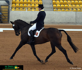 With an extended trot like this there is little wonder that Shane Rose and Easy Turn scored 74.17% to be placed second at the end of the dressage phase of the four star at the Tamworth International Eventing held at AELEC on the weekend