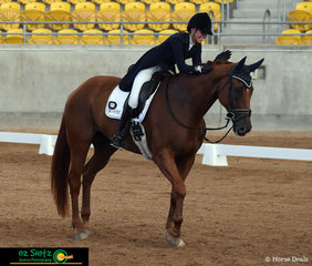 Last out in the Four Star Dressage was Grace Kay, she had a good reason to be happy with Celerity Park Faberge with a dressage score of 78.65 Grace and Celerity were the leaders after the dressage phase