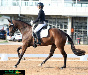 In the Dressage phase of the CCI 2 Star is Lesley Brodbeck and Lexington Furstin Affair puttting on a beautiful show at the Tamworth International Eventing.