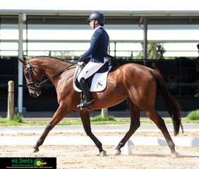 Showing nice paces in the dressage arena in the CCI 2 Star is Jaimie Mcelroy and Sacred Tune at Tamworth International Eventing.