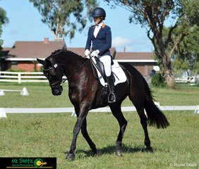 Trotting down centre line on the first day of Tamworth International Eventing is Kirstie Picton and Jirrima Eskimo Joe in the EvA80cm.