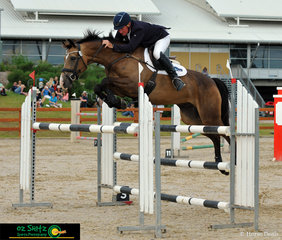 Competing at the Tamworth International Eventing is Heath Ryan and Bronze Boy R in the CCI 4 Star Show Jumping phase at AELEC.