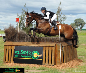 Madeline Wilson on I'm Bruce jumping clear in the CCI four star this weekend at the Tamworth International Event.