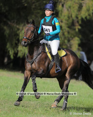 "Charlotte Armstrong  placed 4th in the EVA 80 Section B riding ""Golden Musician"""