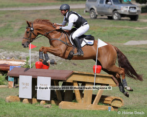 """Winners in the CCN1* Murray Lamperd riding """"Rostwaite Chaccodina"""" with a final score of 24.80 finsihing on his dressage score"""