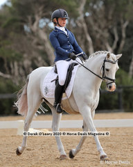"Amelia Corallo rode ""Bamborough Jabiluka"" to win the Medium 4A on Saturday with a score of 64.861%"