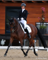 """Winners in the Advanced 5A on Saturday, Jane Crantock and """"La Vie"""" with a score of 67.369%"""