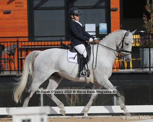 "Deborah Ambrosini rode ""Deltry Valentino"" placing 6th in the Advanced 5A on Saturday with a score of 63.882%"