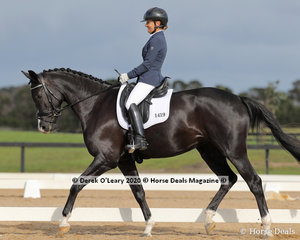 "Monica Bird placed 3rd in the Preliminary 1A riding ""Belle Bijou"" with a score of 70.100%"