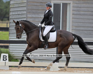"Ebony Linford in the Preliminary 1A riding ""Woodvale Park Furst Monty"