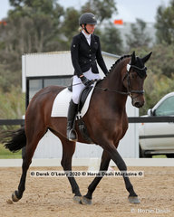"""Ebony Park Gallants Son"" ridden by Paige Burfurd, placed 4th in the Preliminary 1A on Saturday with a score of 68.800%"
