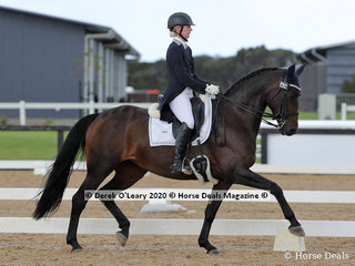 "Chloe Salter rode ""Elite Laayla"" placing 6th in the Advanced 5C on Sunday with a score of 59.398%"