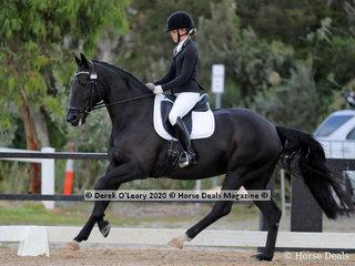 "Winners in the Medium 4C on Sunday was Natasha Moody riding ""Diamonte Noir"" with a winning score of 66.987%"