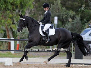 "Winners in the Medium 4C on Sunday was Natasha Moody riding ""Diamonte Noir"" with a winning score of 66.987%"