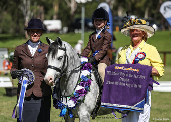 Native Mini Pony of the Year Eagle Park Bazzinga, exhibited by Cheree & Ruby Ventham, pictured here with NSW Judge Jo Maunder.