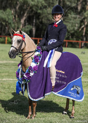 Runner up Led & Champion Ridden APSB Partbred or APSB Riding Pony of the Year Gemsfield Royal Ballet, exhibited by the Rivett Family.