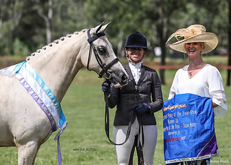 Runner-Up Show Hunter Riding Pony of the Year Allira Park Paspaley, exhibited by Kirsten Strath, pictured with judge Jane Gardner.