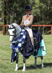 Champion Ridden All Breeds Exhibit Chrysler Park Pixie & Maddison Ball. The combination had a very successful day winning the Mini Open Pony of the Year also.