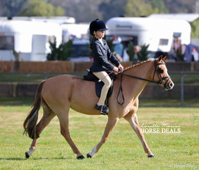 "Winner of the Child's Small Show Hunter Pony class ""Leeara Park Fairy Wings"" and Ava Langham."