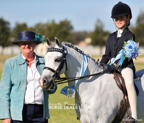 Lindy Walker had the tough task of judging the strong Junior Rider classes, pictured here with the Champion Marley Yates.