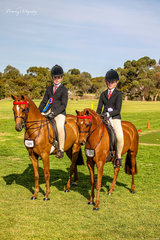 Ella Manning took time out from her busy eventing schedule to pilot Rebecca and Taylor Shute's first season pony Peter Pan of Kingston to Champion small show pony. Kiarah Taylor made the long trip from Pt Lincoln to ride her own Yartarla Park Mancini to Reserve Champion small pony.