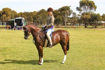 Sally Kearny successfully returned to showing riding Margie Burrows's Ankara Park Euphoria to be awarded Champion Small show hunter pony.