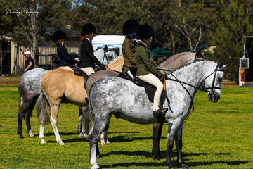 A beautiful line up of ponies and children presented for the show hunter first ridden event.