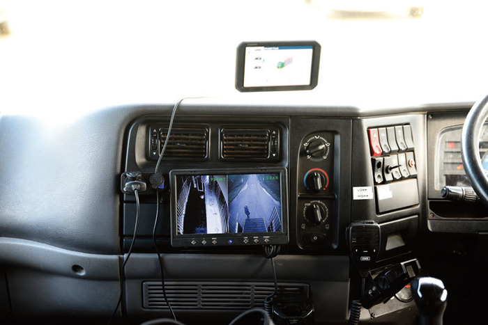 The split screen camera in the cab. One half the horses, the other a rear view camera.