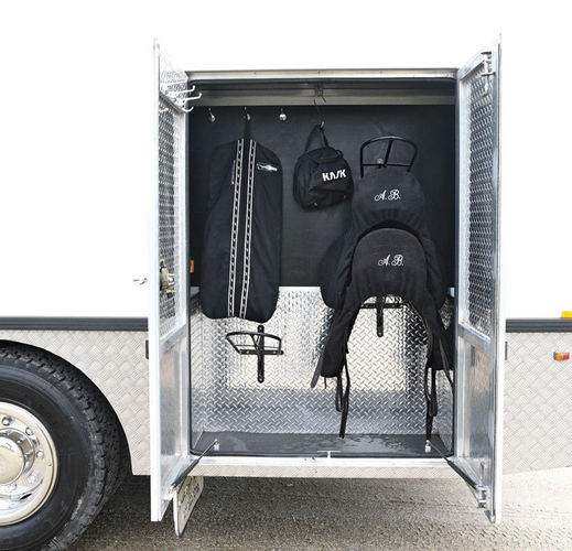 The tack box with storage for saddles and plenty of hooks for bridles and other gear.