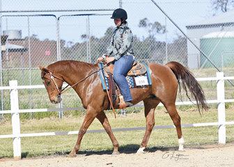 Bella Barnard riding Remi in the Improver Western Horsemanship.