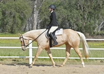 Rachel Elliott and Designed In Gold in the Open Hunter Under Saddle .