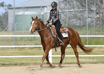 Rachel Kealey riding Diesel in the Improver Western Horsemanship.