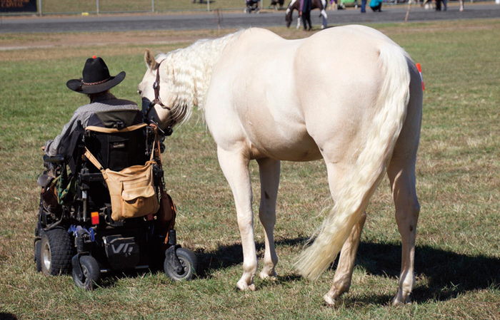 Vicki and Cruze at Marburg Show competing in Disability Rider Led Class.