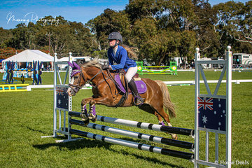 Imogen Lindh had a busy weekend with a couple of rides including 'Kerlea Gold Dust' in the Open 65cm.
