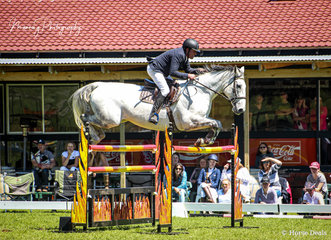 Anthony Thomas had a busy enough day as AHSJC President and Course Builder but somehow found time to ride 'SL Donato' for a win in the 1.30m class and 2nd place in the Hann's Transport Gold Cup.