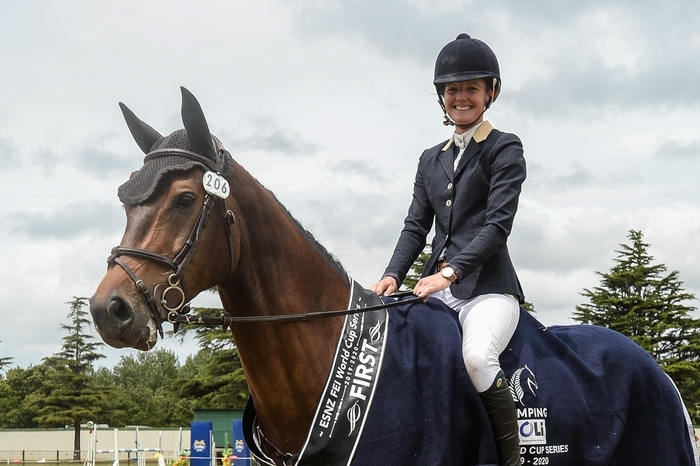 Two-time POLi Payments FEI World Cup (NZ) Series winner Tegan Fitzsimon aboard Windermere Cappuccino. Photo by KAMPIC