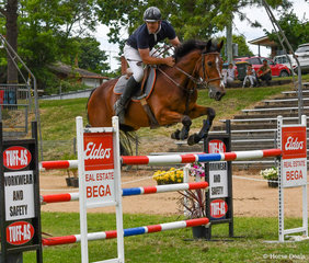 Bega Showjumping Club President Grant Jessop and GH Sonovagun are always competitive. This pair won both 1.10m classes on the weekend and placed 3rd in the 1.20m on day 2