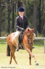 Ella Hole rode Shae Wishart's Lavala Park Leonardo to win Newcomer Open Pony 14hh and Under