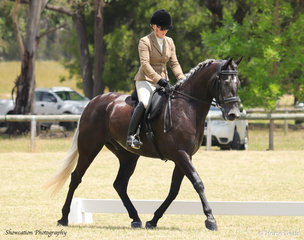 Robyn Jensen is in the saddle aboard Angeldel Diaelo as they went on to win Reserve Champion during the Champion Show Hunter Hack Class