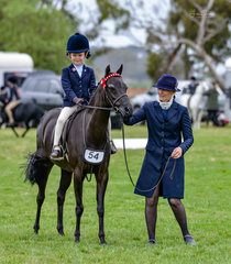 Pictured waiting patiently for the judges decision in the Leading Rein Pony rider 5 years and under 8 years is Annie & Ivy Aikman and their lovely pony Langtree Unique