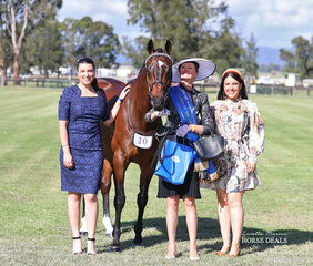 "Su Dennis won the Fashions on the Field class for the over 50s, leading ""Supply And Demand"", pictured with judges Jemma Cutting and Julieanne Horsman."